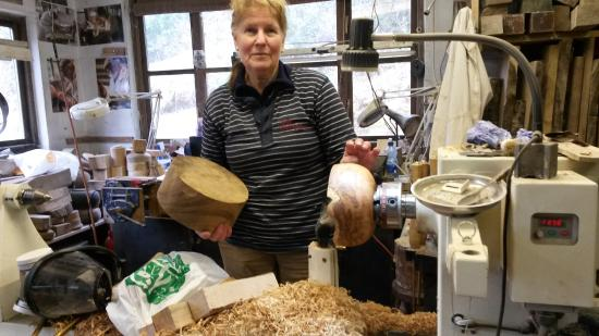 Kenmare, Ireland: Anne in her wood shop.