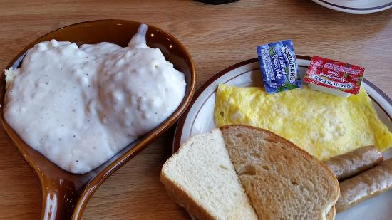 Mauston Park Oasis Restaurant: Cheese omelet, toast, biscuit and gravy, $14.