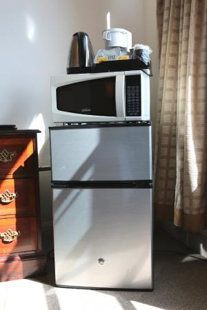 Nash Hotel: It's very convenience to have a refrigerator a coffee maker and a microwave inside the room.