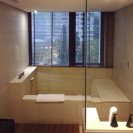 Sweetme Hotspring Resort: Private hot spring and Japanese style shower in  bathroom
