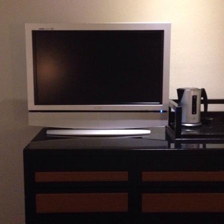 Sweetme Hotspring Resort: Television, kettle, lock safe, fridge