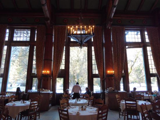 breakfast in the beautiful ahwahnee dining room - stunning view