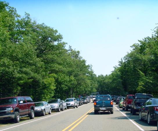 Honor, MI: Parking is nuts along Lake Michigan Drive by afternoon