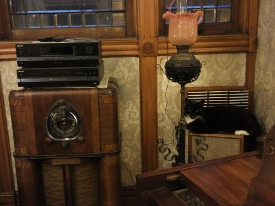 Richards House Bed and Breakfast: Living room with antique radio and cat