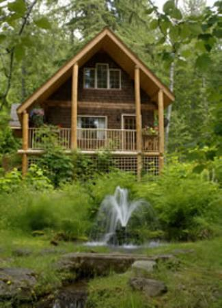 Crawford Bay, Kanada: The Squirrel's Den cabin overlooks a pond with a waterfall.