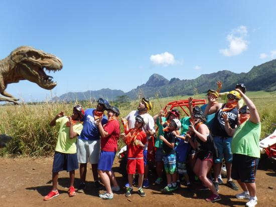 Kalaheo, Hawái: A group pic at an area where they filmed Jurassic Park