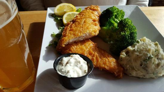 Excelsior, MN: Walleye, organic broccoli, organic mashed potatoes