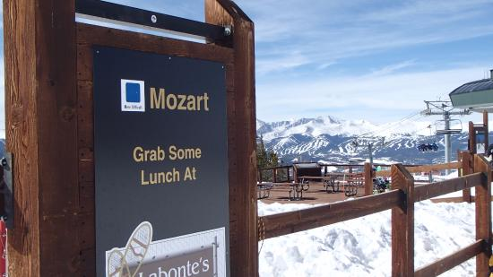 Keystone, CO: Mozart Sign w/view of Breckenridge