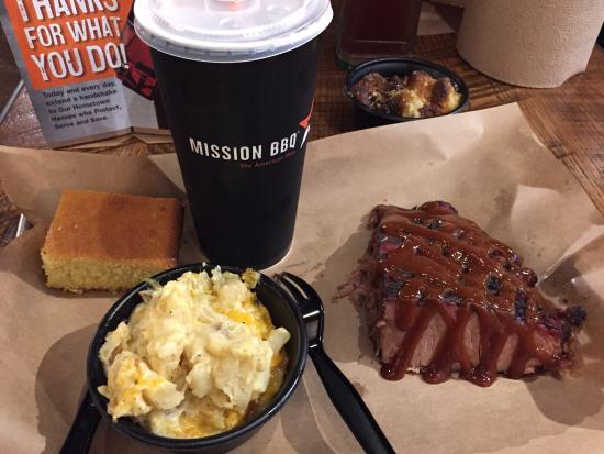 Mission BBQ cornbread, cheesy potatoes, and beef brisket add your own sauce