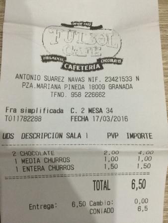 Cafe Futbol: el tiket para comprovar que es real