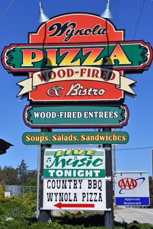 Wynola Pizza Wood Fired & Bistro: Sign on Highway 78, west of Julian