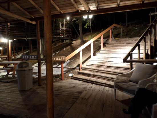 The Lodge at Lolo Hot Springs: View from in front of room 1-C at night