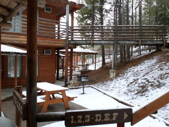 The Lodge at Lolo Hot Springs: View from in front of room 1-C during the day