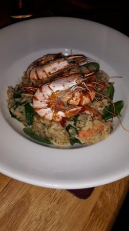 Clare, UK: risotto with king prawns yum