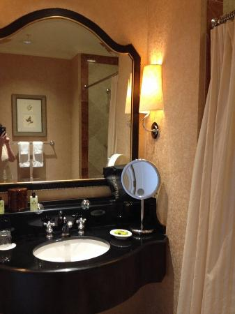 Mirror area with lovely amenities