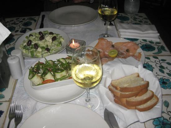Presa di Goa Country House: Greek salad; Tomato, Zucchini, and Mozzarella; Salmon
