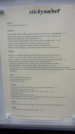 Sticky Walnut: The menu on the night we went.