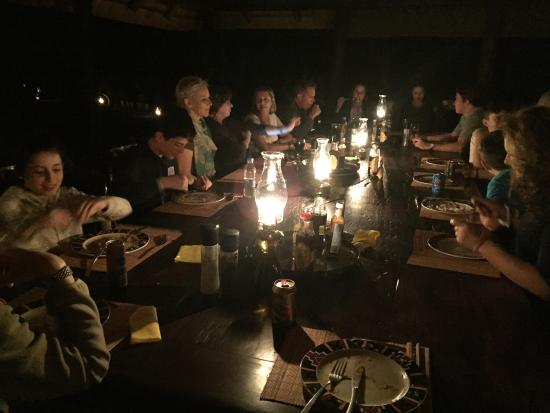 Mosetlha Bush Camp & Eco Lodge: Atmospheric evening dinner ... plenty of stories and laughs.