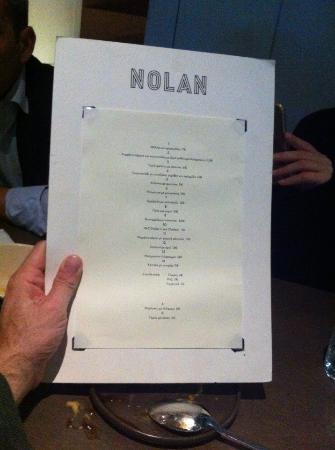 Nolan: Το μενού