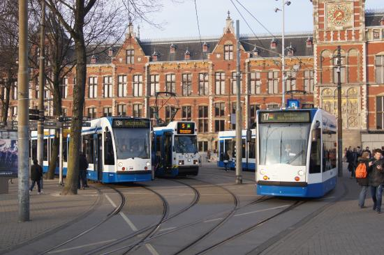 Trams outside Amsterdam Central Picture of GVB Amsterdam