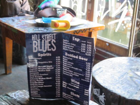 Menu - Picture of Cafe Hill Street Blues, Amsterdam