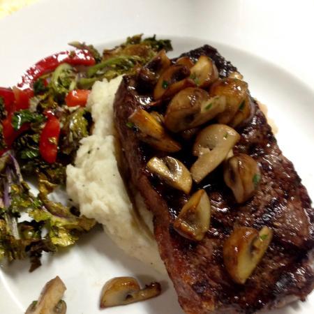 Paonia, Colorado: NY Strip Steak W/sautéed crimini mushrooms