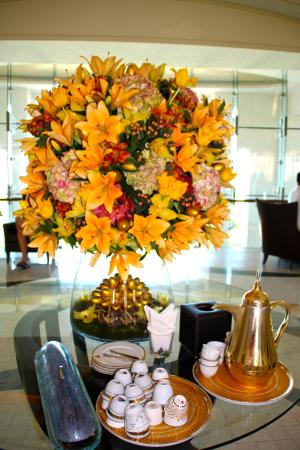 The St. Regis Saadiyat Island Resort: Fresh flowers and a welcoming tea and date in the lobby.