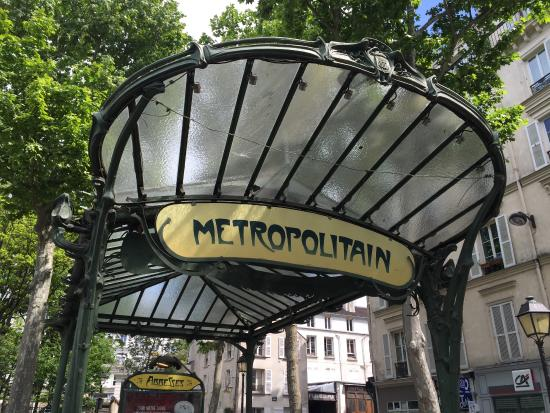 Art Nouveau Abbesses metro canopy. - Picture of Paris Metro, Paris ...