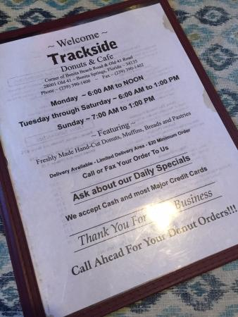 Trackside Donuts and Cafe : Menu