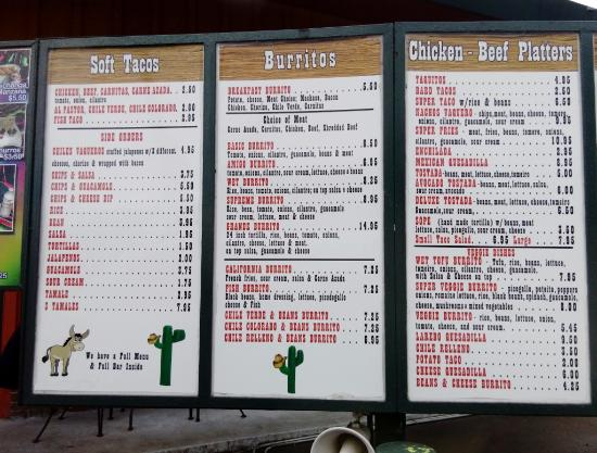 Roseburg, OR: Burrito Vaquero drive thru menu (1 of 2)