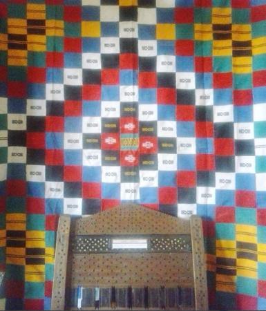 Nairobi Gallery: National Gallery in Nairobi. Fulani textile and Swahili chair