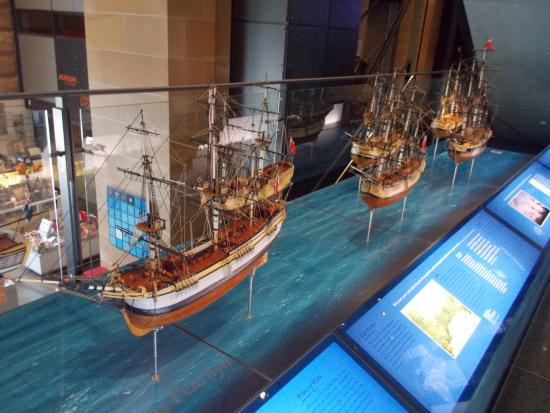 Museum of Sydney: model ships inside the museum