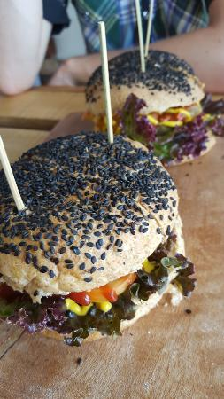 The Vegan Dinosaur: Black bean veg burger + coco loco