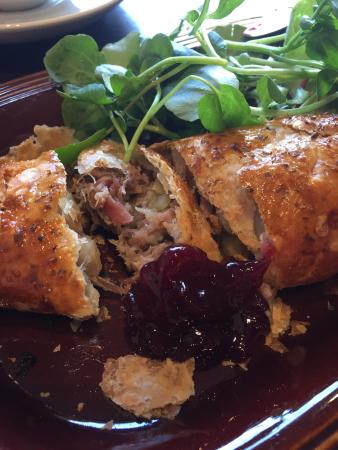Cream : Homemade Hog Roast Sausage Roll, filled with ham hock, stuffing & apple! A true gem.. and delici