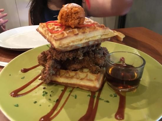 Waffles Note That S Not Icecream But A Ball Of Chilli On Top