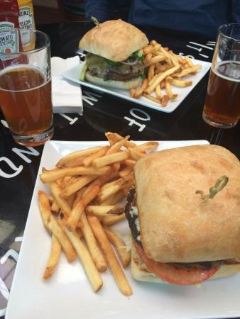 EvenFlow : Black and Blue Burger on Ciabatta, with EF fries