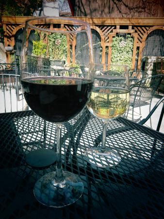 The Stone House: Wine and patio.