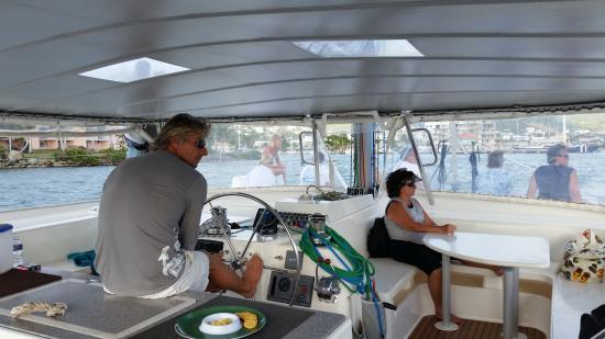 Simpson Bay, St. Martin/St. Maarten: On board, very roomy. They don't like too big a crowd.