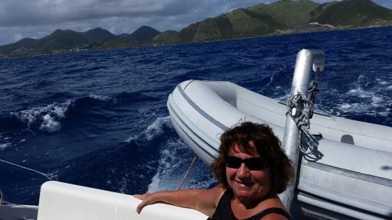 Simpson Bay, St Martin / St Maarten: Nancy enjoys the view.