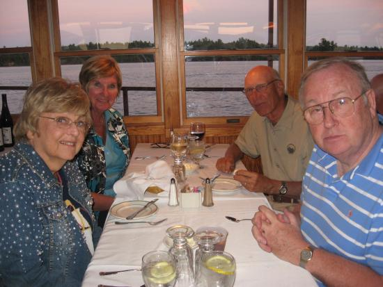 Raquette Lake Navigation Co: Enjoying Chef Jim's cooking