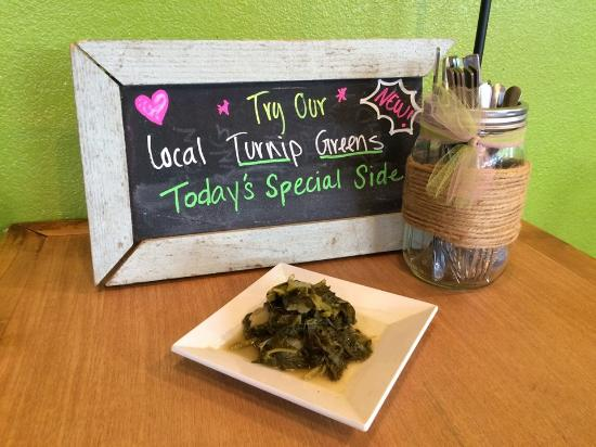 Crepe Myrtle Cafe : We are adding hot side items, too.  Southern Turnip Greens!