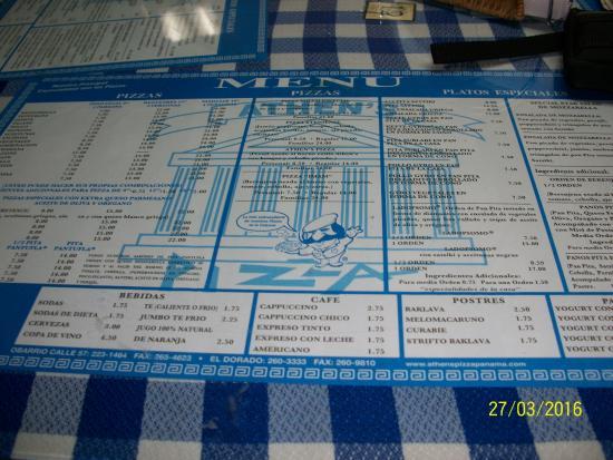Athens Pizza: table menu