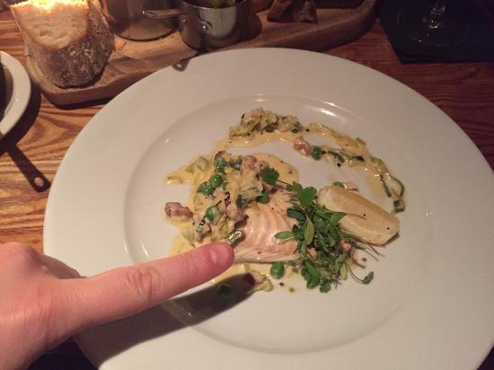 Epicures of Hyndland: My tiny piece of halibut and my (average-sized!) finger for comparison.