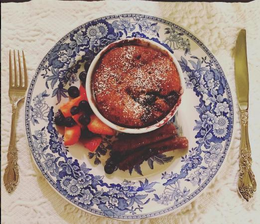 Scarborough Fair Bed & Breakfast: Breakfast--a blueberry/donut bread pudding with maple sausage and fruit.