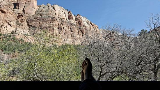 Zion Lodge: view from the balcony of room 239