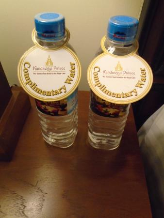 Complimentary Water Picture Of Kandawgyi Palace Hotel