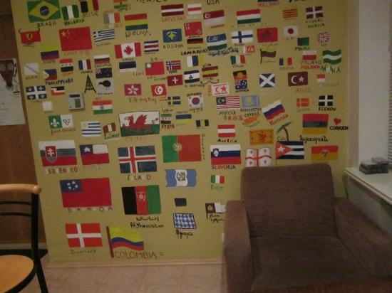The Monk's Bunk Kaunas: The wall with all the country flags