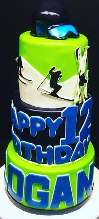 Ski Theme Birthday Cake with 3D helmet and 3D ski mask Picture of