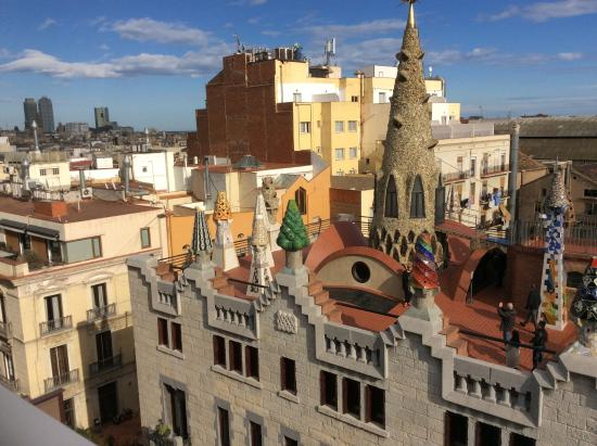 Hotel Gaudi: The wonderful and quirky rooftop chimneys of Palau Guell opposite the hotel.