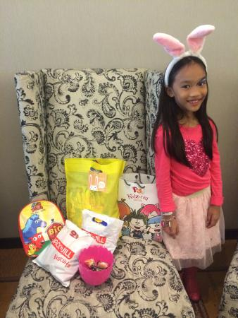 Acacia Hotel Manila: with her loot bag and prizes from TK, Fun Ranch & Kidzania
